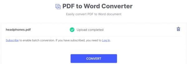 Convert PDF to Word on HiPDF