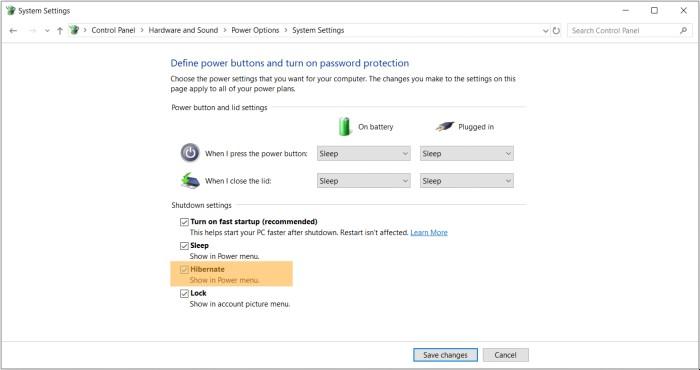 Turn on Hibernate mode in Windows 10