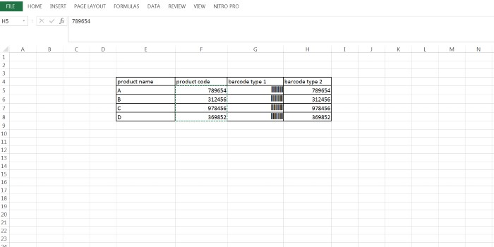 Barcode type 2 using Excel