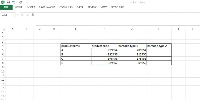Barcode using excel copy product code