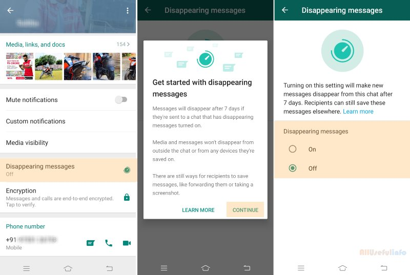 Disappearing Messages in WhatsApp