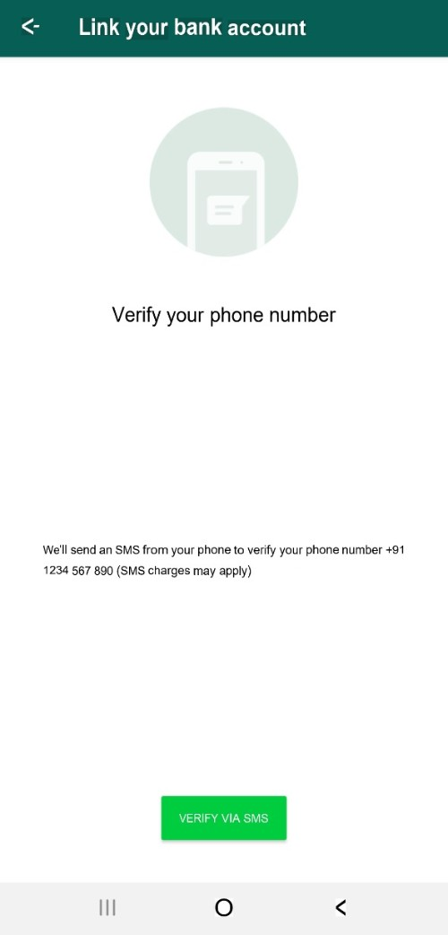 Verify phone number for WhatsApp payments
