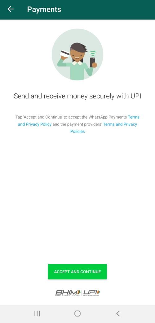WhatsApp payment via BHIM UPI