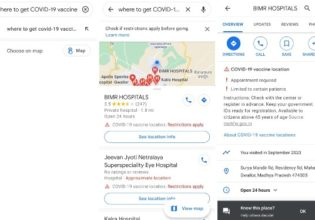 COVID-19 vaccination centers on google maps