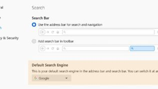 Default search engine settings Firefox