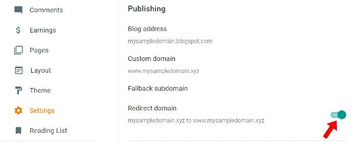 Redirect Blogger custom domain