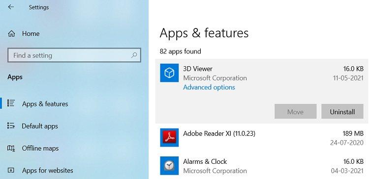 Uninstalling application in Windows 10